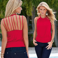 Rose Halter Back Straps Blouse