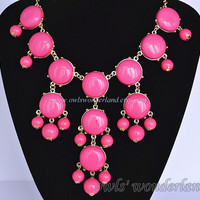 Rose Red J Crew Bubble Necklace Inspired , Bubble Statement Bib Necklace