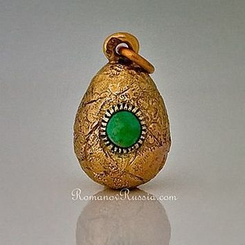CARL FABERGE Gold Nugget Egg Pendant  Antique Russian