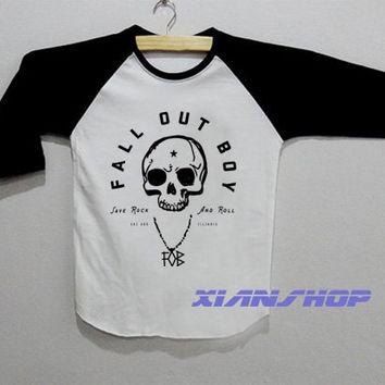 FOB Fall Out Boy Logo Save Rock Shirt Baseball Raglan T Shirt White Tee Shirt Unisex Size S M L - XD03