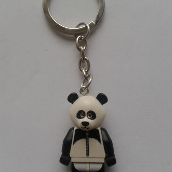 panda guy  minifigure keychain keyring  made with LEGO® bricks