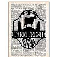 Farm Fresh Milk - Kitchen Decor - Dictionary Page Art Print, 8x11 UNFRAMED