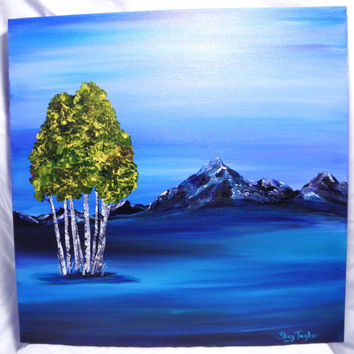 Original Painting, snowcapped mountains, aspen tree painting, fine art
