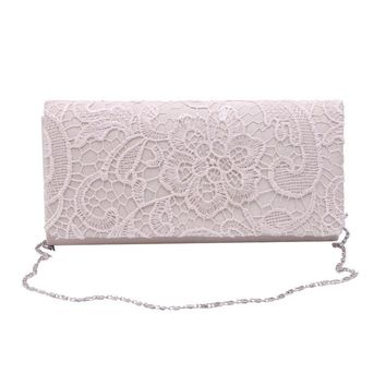 Woman Ladies Lace Floral Satin Party Evening Clutch Wedding Bridal Purse Bag Messenger Shoulder Party Girl Handbags W1696