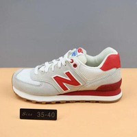 QIYIF cxon new balance wl574rsc grey red for women men running sport casual shoes sneakers