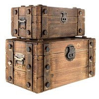 Antique Brown Lined Wood Box Set with Metal Bands | Shop Hobby Lobby