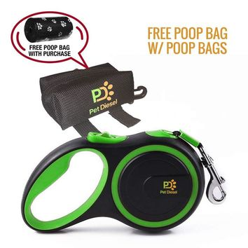 Retractable Dog Leash + Poop Bag Holder + Roll Of Poop Bag (3 Colors Choice) | Comfortable Leash For Walking Small, Medium & Large Dogs | Secure, Tangle-Free, One Button Break & Lock Handle