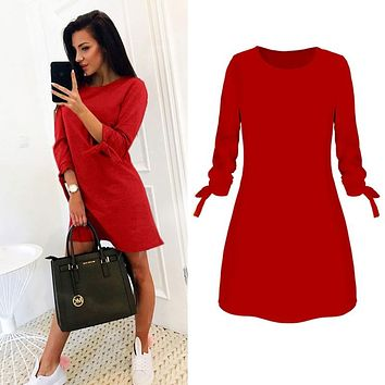 2019 Spring New Fashion Elegant OL Solid Color Dress Casual O-neck 3/4 Sleeve Bow A-line S-4XL Size Plus Female Vestidos