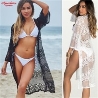 2018 Crochet Beach Cover Up Sexy Hollow Out Bikini Cover Up Swimwear Women Bathing Suits Cover-Ups Lace Beachwear Robe De Plage