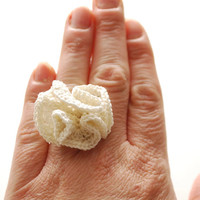 FREE SHIPPING - White Crochet Ring with Unique Ruffle look Fashion Accesory