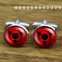 Naruto eyes  cufflinks ,Groom & groomsmen  cufflinks,    cufflinks for daddy , wedding cufflink,silver cufflinks, Men cufflinks,