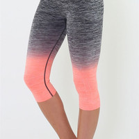 Yoga Capri Pants - Gray and Neon Coral
