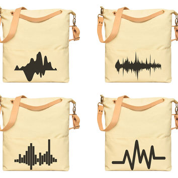 Unisex Sound Wave Printed Canvas Leather Strap Crossbody Messenger Bags WAS_35