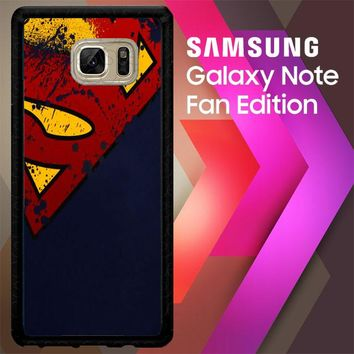 Dc Comics Superman Distressed Emblems V0089 Samsung Galaxy Note FE Fan Edition Case