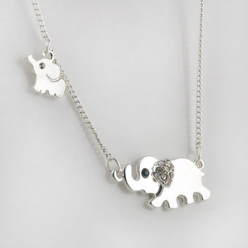 Gold Double Elephant Stroll Design Pendant Necklace Punk Statement Necklace Women Jewelry -03130