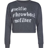 Full Tilt Girls #Selife Crop Sweatshirt