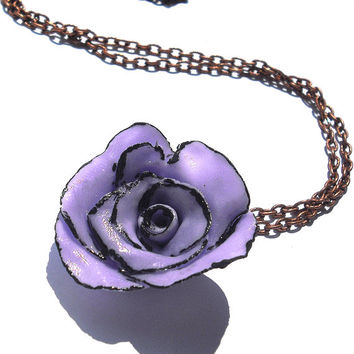 Purple and black rose necklace handmade in cold porcelain and hand painted