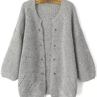 Light Grey Long Sleeve Rivet Knit Cardigan
