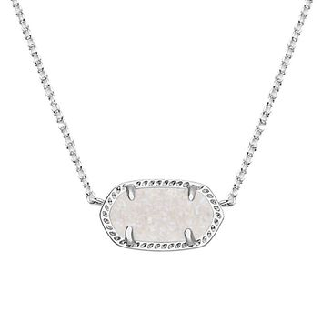 Elisa Silver Pendant Necklace in Iridescent Drusy - Kendra Scott Jewelry