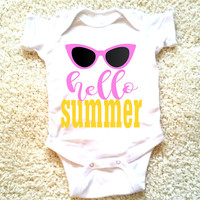 Hello summer quote baby Onesuit for newborn, 6 months, 12 months, and 18 months Funny graphic Onesuit