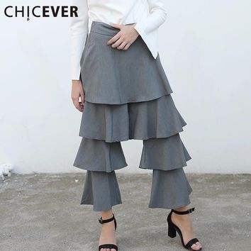 High Waist Trousers For Women Ruffle Palazzo Casual Clothes Autumn Female Flare Pants Fashion