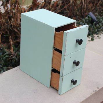 Mint green wood kitchen storage drawer organizer