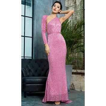 Hollywood Moment Pink Sequin One Shoulder One Long Sleeve Backless Mermaid Maxi Dress