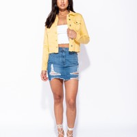 Yellow Raw Hem Western Denim Jacket