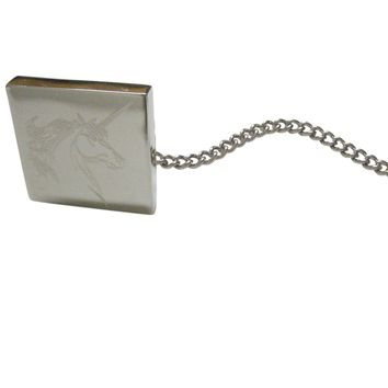Silver Toned Etched Unicorn Head Tie Tack