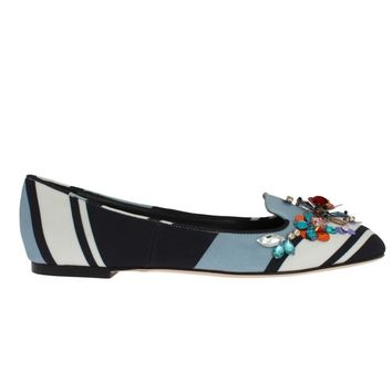 Dolce & Gabbana Blue White Wool Crystal Flat Loafers