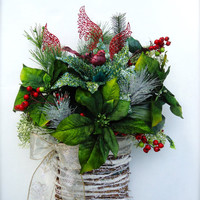 Winter Christmas Floral Twig Basket, Poinsettia Basket, Christmas Wreath, Christmas Swag