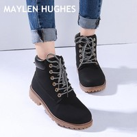 2018 Hot Autumn Winter Shoes Women Flat Heel Snow Boots Fashion Women's Boots with Plush Brand Woman Ankle Botas Hard Outsole