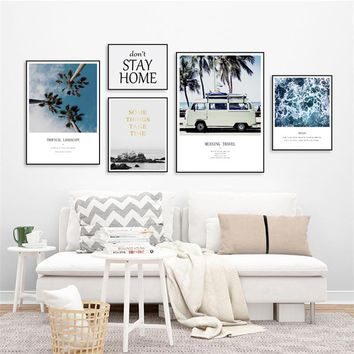 Home Decor Nordic Canvas Painting Letter Landscape Beach Coconut Tree Plant Picture Living Room Corridor Hotel Wall Art Prop DIY