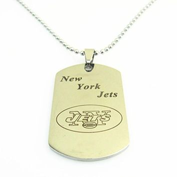 Fashion Stainless Steel Necklaces Sport New York Jets Team Logo Dog Tag Pendants With 50cm Bead Chain Necklace 3pcs/lot
