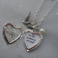 The Hunger Games Katniss's Pearl & Mockingjay, Real or note Real , Heart Locket Necklace