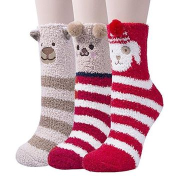 3 Pairs Womens Super Soft Cute Animal Fuzzy Slipper Socks Home Winter Warm Socks