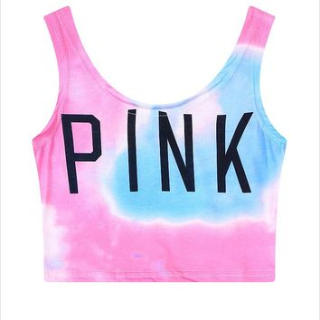 PINK Gradient Color Cami Crop Vest Tank Top