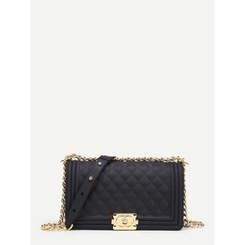 Metal Lock Quilted Crossbody Chain Bag Black