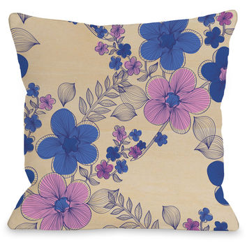 """Elegant Sweep"" Indoor Throw Pillow by OneBellaCasa, Blue, 16""x16"""
