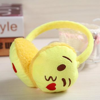 Yellow Cute Expression Earmuffs Women Thickening Plush Big Large Ears Warm ear muff Student Novelty Trendy Lovely Creative Gifts