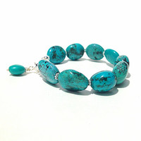 Genuine turquoise bracelet with sterling silver - fine statement jewelry