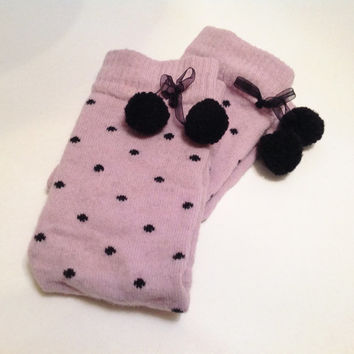 Pink Leg Warmers with pom pom, legging. Yoga. Boot cuffs, legwarmers