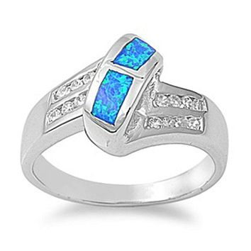 Blue Simulated Opal in Mosaic Pattern with Clear Cubic Zirconia Stones Set in Criss-Cross Band