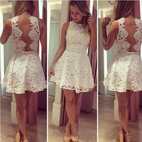 lace Prom Dress,short Prom Dress,white Prom Dress,homecoming dress for juniors,PD725