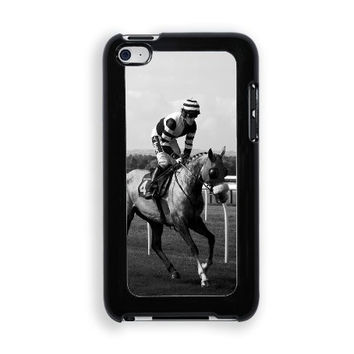 Horse Race Jockey (Black & White Image) Protective Designer Snap-On Case - Fits Apple iPod Touch 4