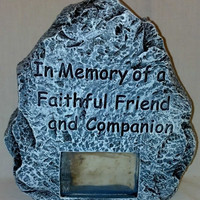 Memorial Stone for Cats and Dogs with Photo Insert