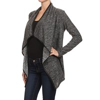 Marled Knit Long Sleeve Loose Fit Draped Open Front Cardigan