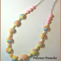Torn Watercolor Paper Necklace 19 in. Polymer Clay Yellow Lt. Blue Peach Pink Natural Wood Handcrafted Beads