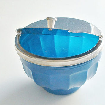 Blue Fired-On Sugar Bowl with Hinged Lid Flip Top Vintage Diner Restaurant Ware
