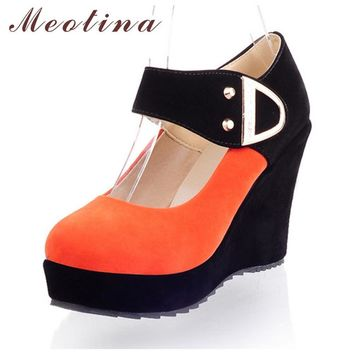 Meotina Shoes Women Pumps Spring Autumn Mary Jane Casual Platform Shoes Wedges Heels F